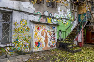 garáž od graffiti